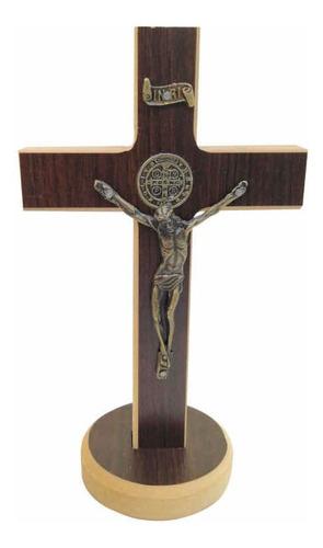 Cruz Crucifixo Grande De Madeira Mesa Parede São Bento 35cm