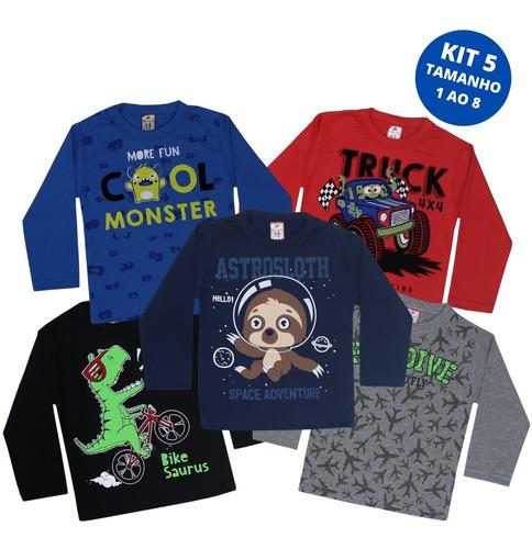 Kit 5 Camisas Manga Longa Infantil Menino Inverno Atacado