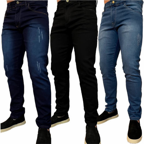 Kit 3 Calça Masculina Jeans Slim Atacado Elastano Skinny