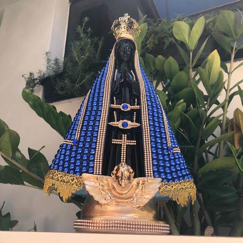 Nossa Senhora Aparecida 40cm Pérola Azul Preta Coroa Metal