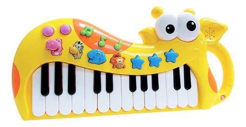 Brinquedo Tecladinho Girafa Gigi Interativo P/ Bebês