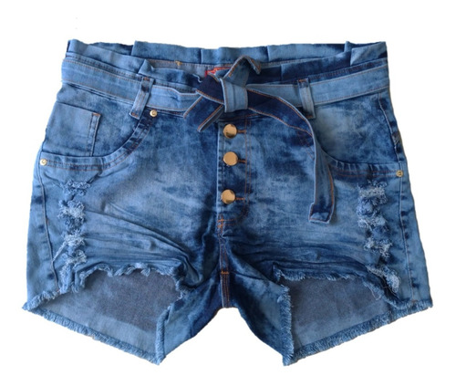Short Jeans Feminino Cintura Alta Plus Size C/ Lycra