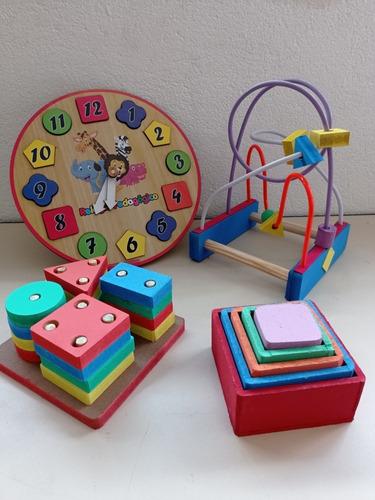 Kit Brinquedo Pedagógico Prancha S, Relógio, Aramado E Cubo
