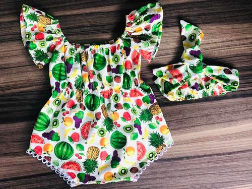 Conjunto Body Bebe Menina Macacão Infantil Lançamento  Fruta