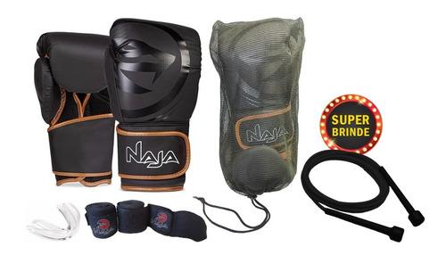 Kit Luva Boxe / Muay Thai - Black Naja