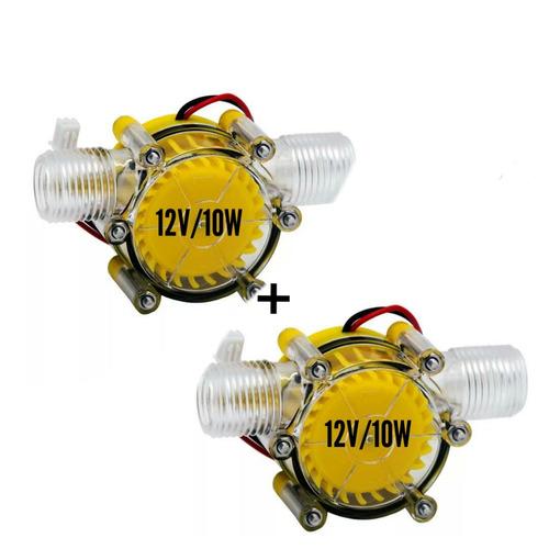 2 Mini Gerador Energia Hidrelétrico 12v/10w Com Fluxo Dagua