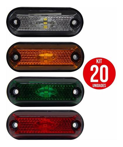 20x Lanterna Delimitadora Lateral Carreta Caminhão Baú 3leds
