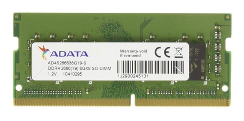 Memória Ram Premier Series Color Verde  8gb 1 Adata Ad4s266638g19-s