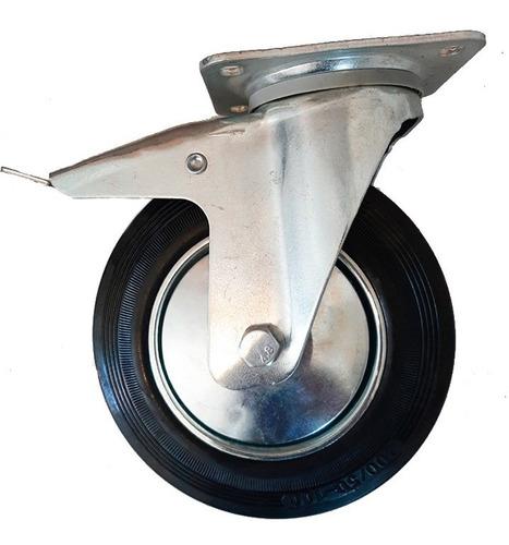 Rueda Carrito Giratoria Con Freno Goma Metal 125mm
