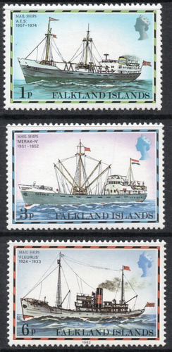 Malvinas Is. Serie X 4 Sellos Mint Buques Correo Año 1977