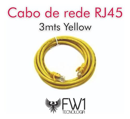 Kit Com 10 Cabos De Rede Path Cord Cat5e Rj45 3mts Yellow
