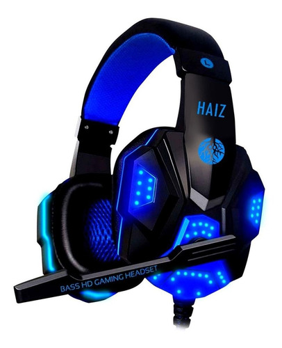 Fone De Ouvido Gamer Haiz Deneb Preto E Azul Com Luz  Azul Led
