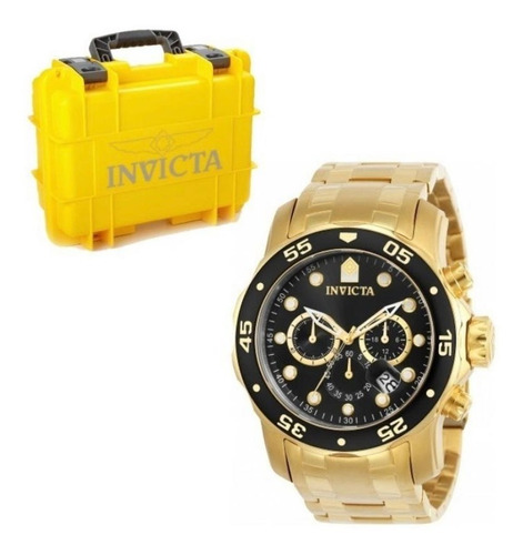 Relógio Invicta Pro Diver 0072 Original Banhado Ouro +maleta