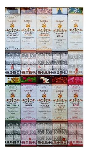 Incenso Massala Goloka 10 Caixas De 15gr Aromas Sortidos