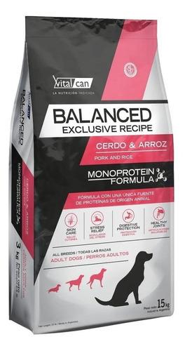 Alimento Vitalcan Balanced Exclusive Recipe Para Perro Adulto Todos Los Tamaños Sabor Cerdo Y Arroz En Bolsa De 15kg