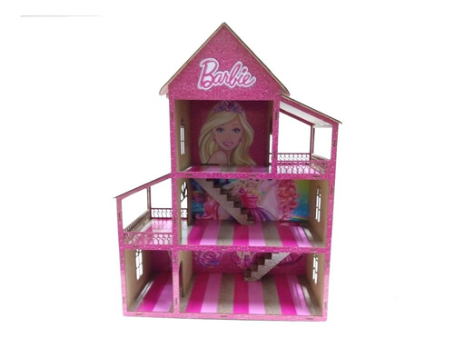 Casa Casinha De Boneca Adesivada Barbie + Kit De Mini Móveis