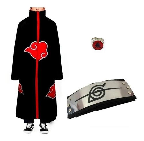 Kit Capa Akatsuki + Bandana + Anel Naruto Cosplay Manto M44