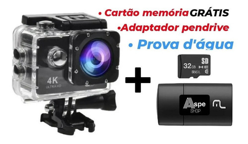 Câmera 4k Full Hd Go Cam Ultra Pro A Prova D'água Brinde