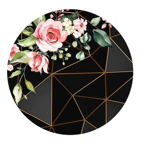Painel Redondo Sublimado 3d Geométrico Floral Preto 1,5m