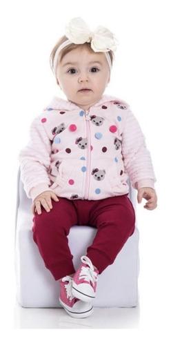 Conjunto Bebê  Infantil Moletom Menina Peluciado Com Capuz