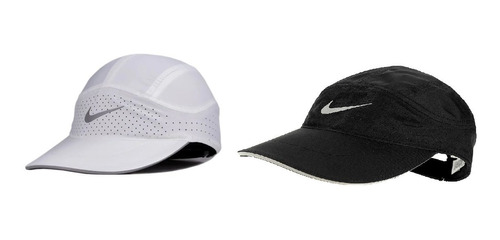 Kit Com 2 Bones Nike Branco E Azul Featherlight Aba Curva Or