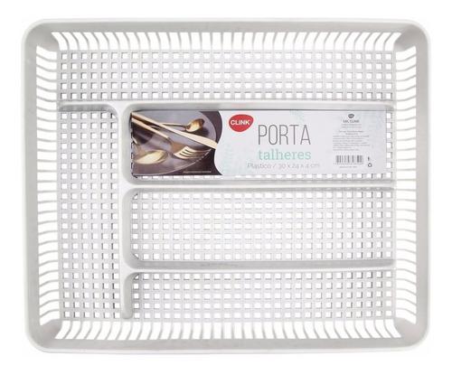 Porta Talheres Para Gavetas De Cozinha Branco Com Separador