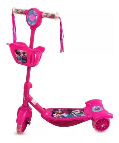 Patinete Frozen 3 Rodas Infantil Musical Luzes Princesa Gelo