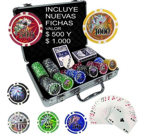 Juego Poker 200 Fichas 11gr Hologramas Numerados $500 Y 1000