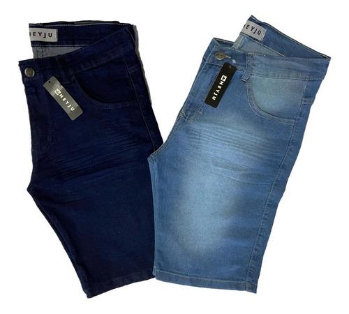 Kit 2 Bermudas Jeans Masculinas Com Lycra Elastano Original