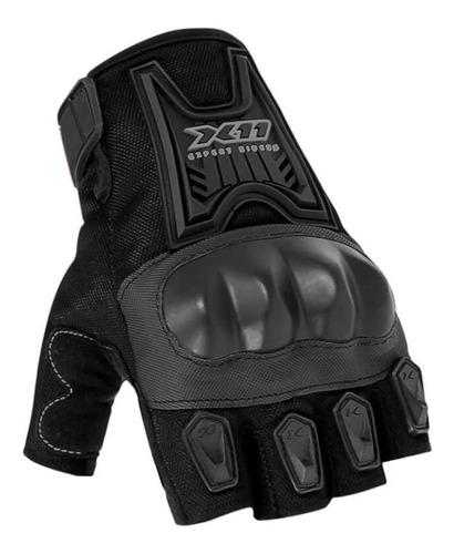Luva Motociclista X11 Blackout Meio Dedo Com Proteção