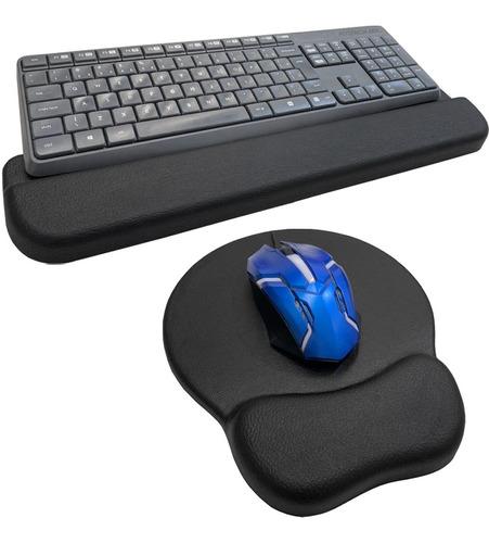Kit Mousepad + Apoio Ergonômico Punho De Teclado Home Office