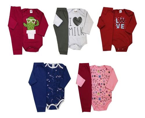 Roupa Infantil Kit 5 Conjunto Body Bebê Inverno Frio Barato
