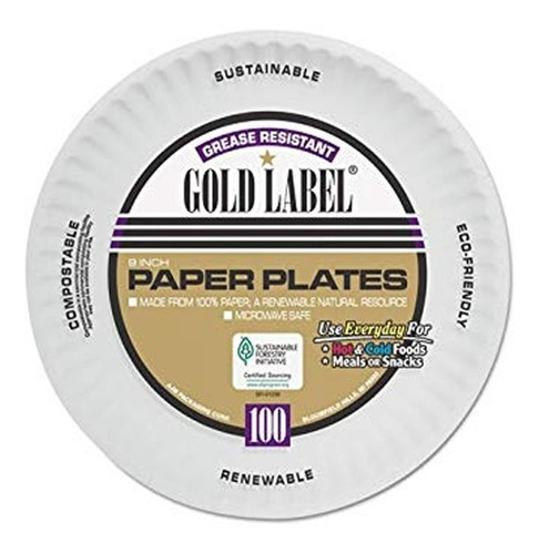 Platos Llanos Desechables De Papel Gold Label 23 Cms X 300