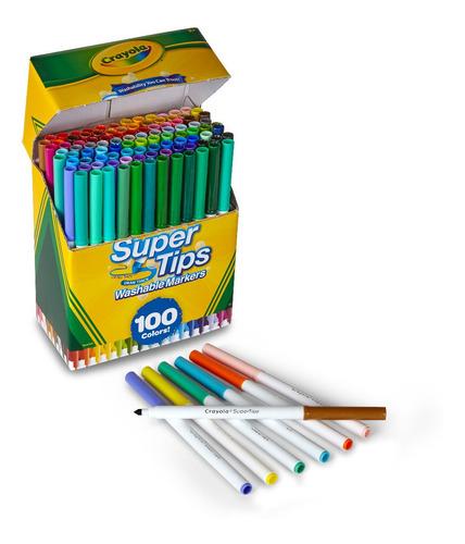 Crayola: Caja X100 Marcadores Delgados Lavables