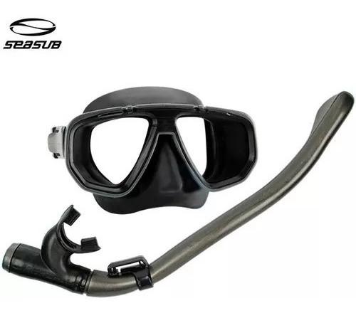 Kit Mergulho Mascara Snorkel Com Valvula Dua Pro Seasub