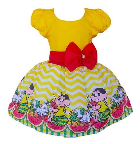 Vestido Magali  Turma Da Monica Aniversario Infantil Laço