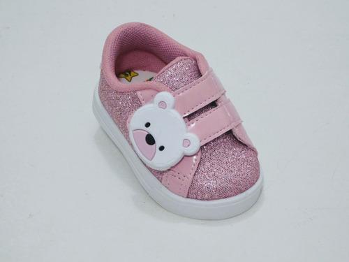 Tênis Infantil Menina Urso Rosa Glitter .