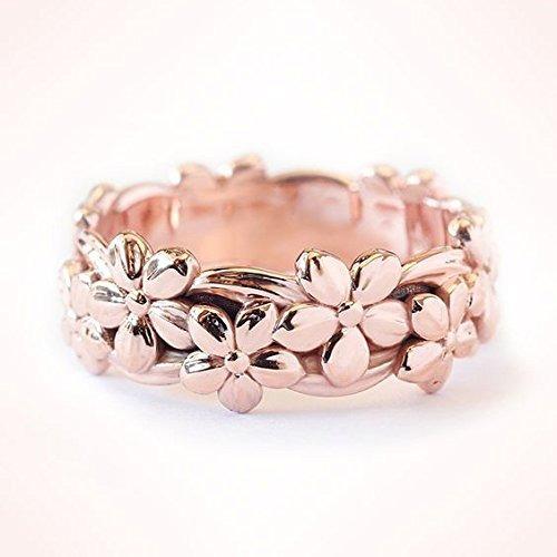 Genuino Sólido 14k Anillo De Oro Rosa Floral Lucky Dais...