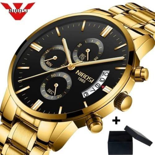 Relógio Nibosi Original Dourado Masculino P/ Entrega 8309