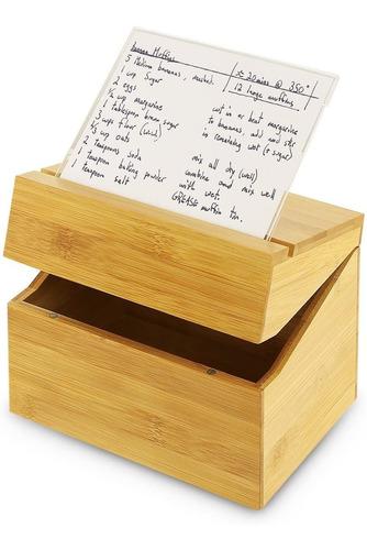 Caja De Recetas De Bambú Con Tarjetero De Acrílico