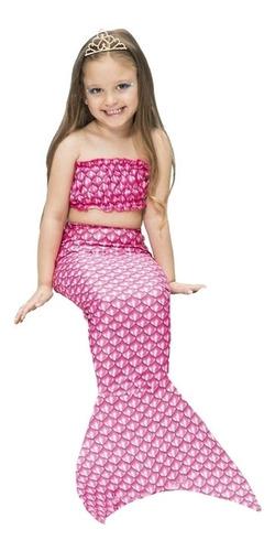 Fantasia Ariel Infantil Princesa Sereia Rosa Com Cauda E Top