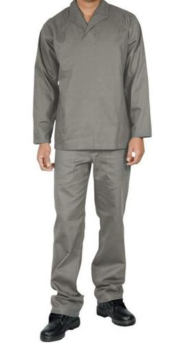 Conjunto Brim Calça E Camisa Manga Longa Uniforme Trabalho