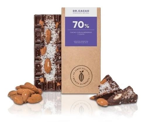 Chocolate Natural Dr Cacao 70% Con Almendras Y Coco 70gr