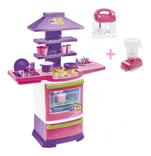 Cozinha Infantil Completa Menina Batedeira E Liquidificador