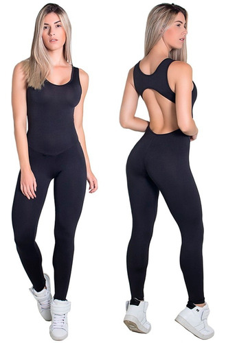 Macacão Fitness Academia Suplex Liso Feminino