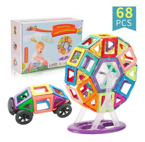 Brinquedo Educativo Magnético De Montar Imã Com 68 Peças