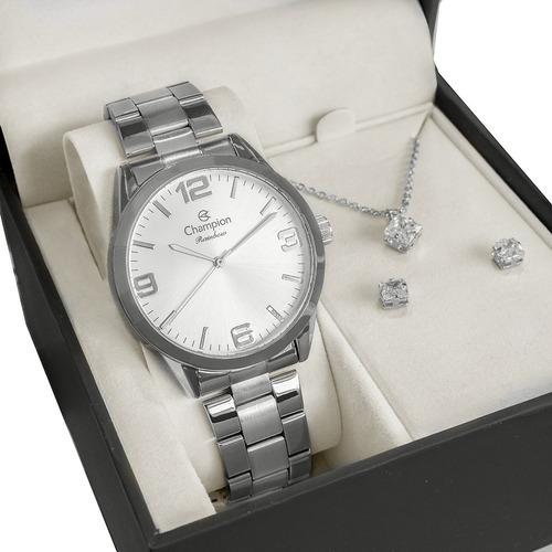 Relógio Champion Feminino Prata Original + Colar E Brincos