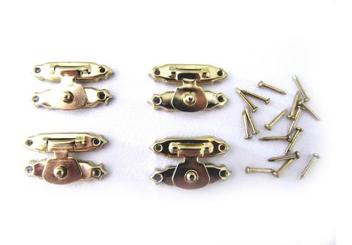 Lote Com 8 Fecho Pequeno Trava Metal Para Caixa De Madeira