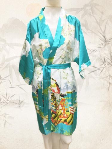 Kimono Japonês Feminino Robe De Cetim Tema Oriental