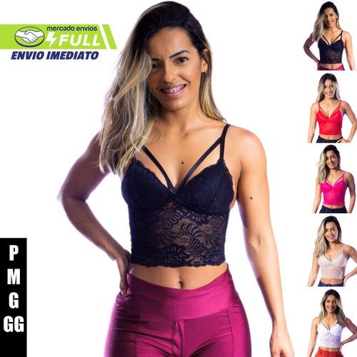 Top Feminino Cropped De Renda Com Tira Dupla Com Bojo